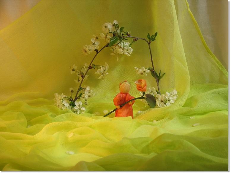 Schattiertes Schleiertuch Frühlingswiese